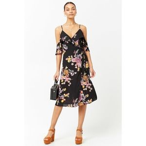 ✨ Open-Shoulder Floral Wrap Dress✨